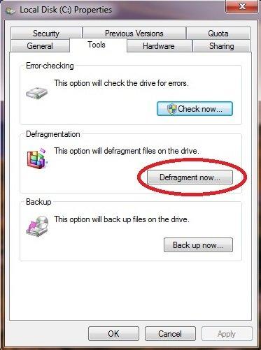 Disk defragment Windows 7 step 05