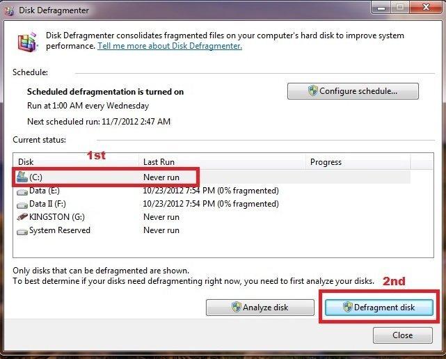Disk defragment Windows 7 step 06