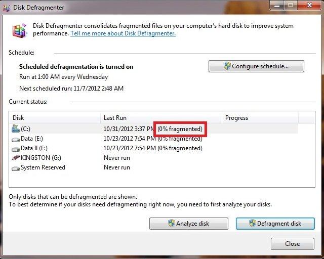 Disk defragment Windows 7 step 07
