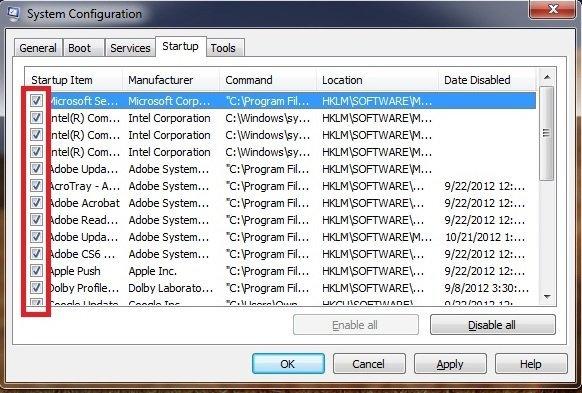 msconfig Windows 7 step 3