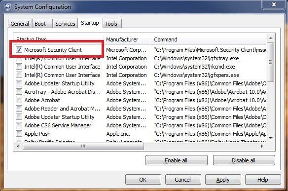 msconfig Windows 7 step 04